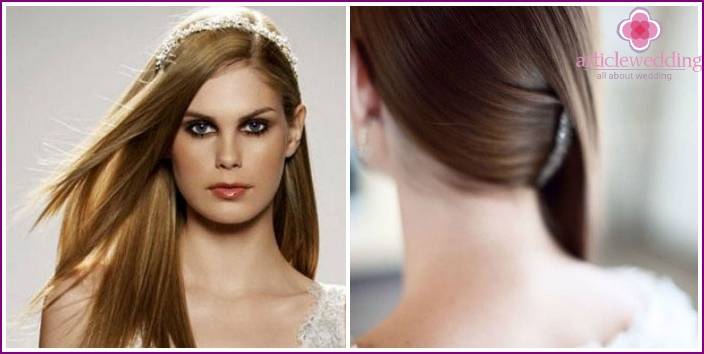 Elegant wedding styling long hair straightened on