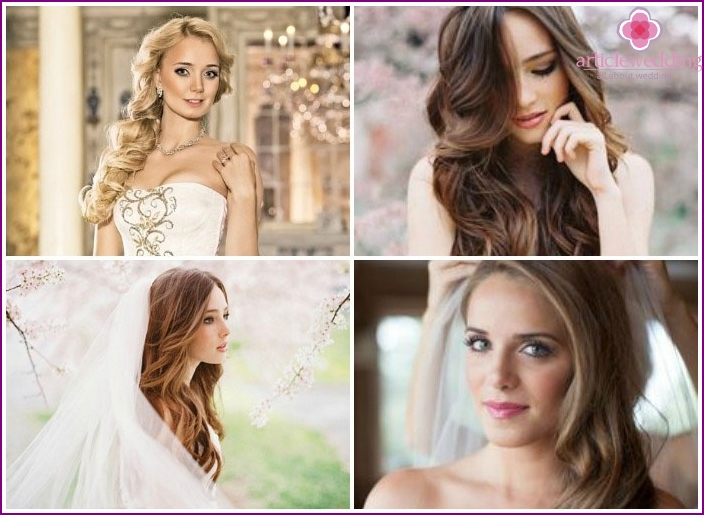 The image of the bride's romantic curls long hair