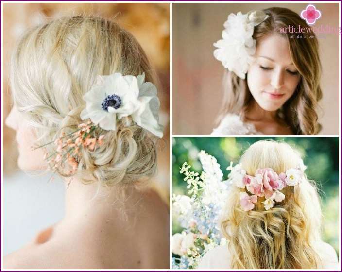 Laying head of hair braided with flowers for long-haired bride