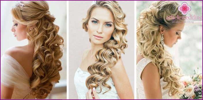 Curls on the wedding for blondes
