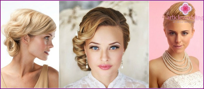 Elegant wedding styling for a short hairstyle