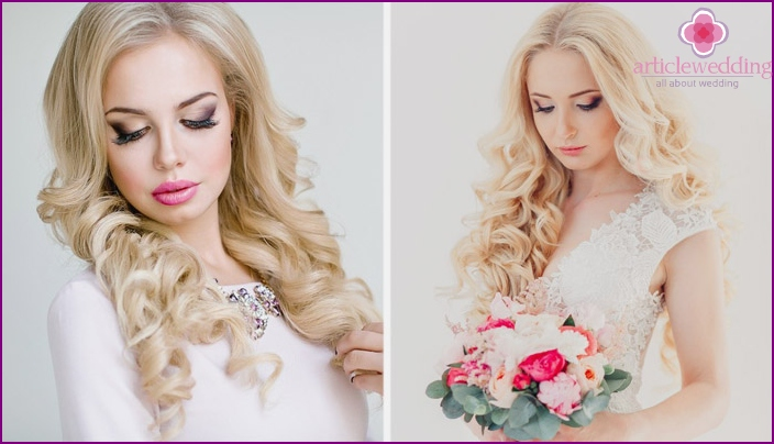 Bride with flowing curls