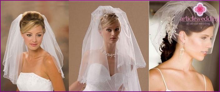 Простые свадебные прически на короткие волосы с фатой