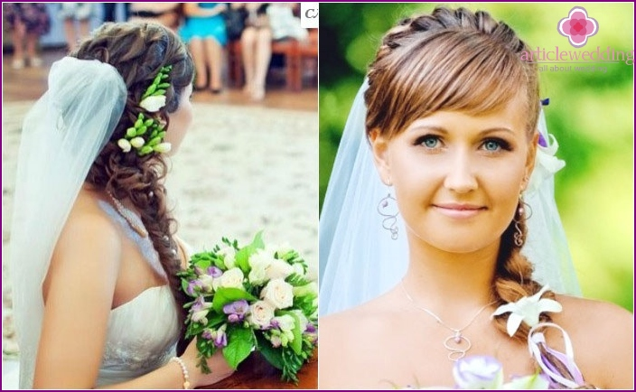 Long-haired bride: hairstyle with veil and netting