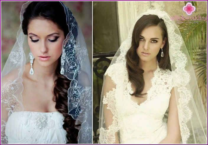 Wedding styling and veil for long-haired brides
