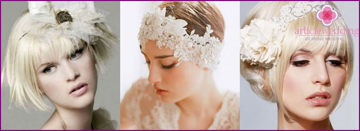 Hairstyle with a flower for a charming bride
