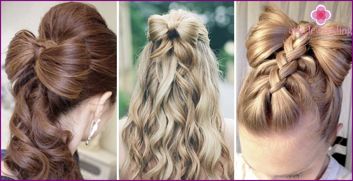 Wedding hairstyle in the form of a bow