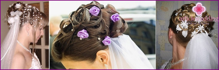 Hairstyle with a veil, complemented by flowers