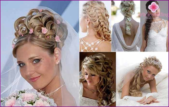 Hair bride of overhead strands with clips