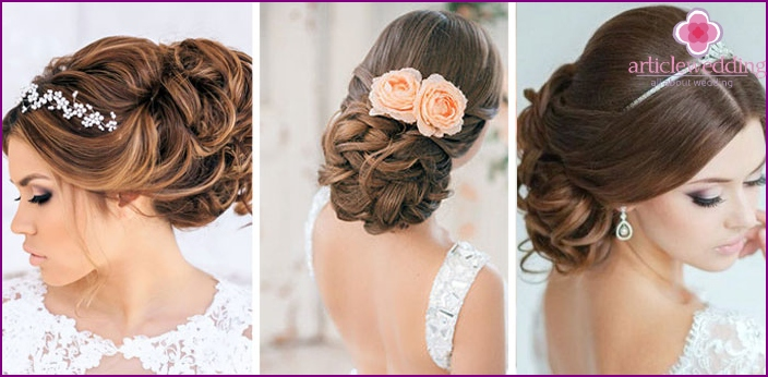 Hairstyles of long curls for a classic wedding