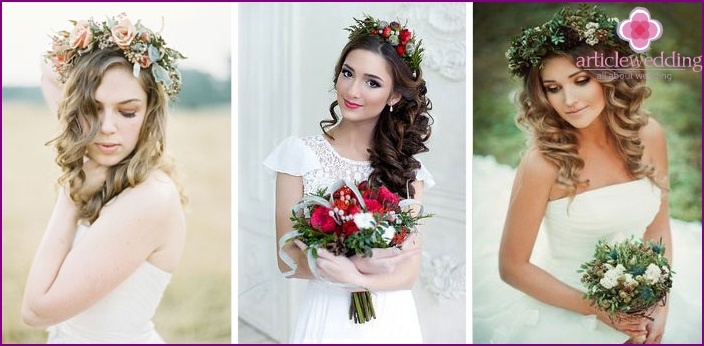 Hairstyles with curls for a wedding in a rustic style