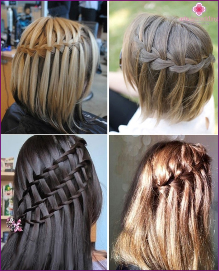 Wedding styling: braids in the form of waterfalls