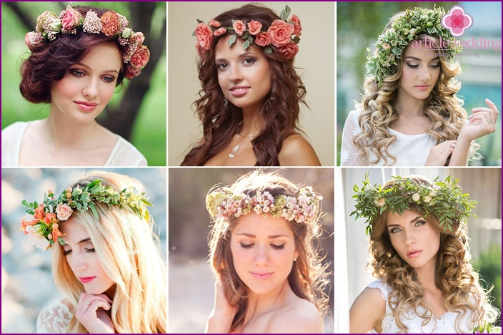 Wedding hairstyle in folk style without veils