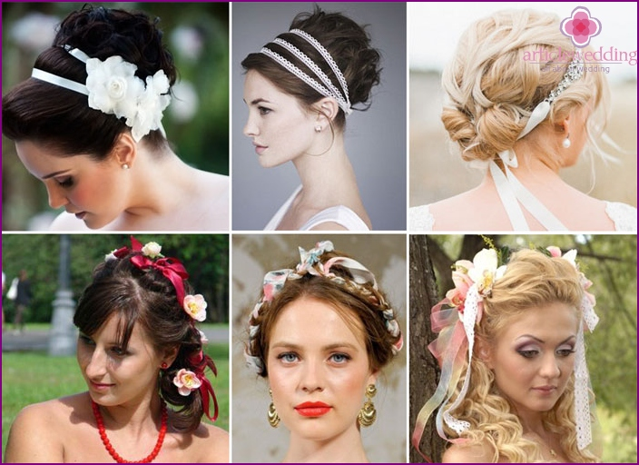 Wedding hairstyle with ribbon: inexpensive beauty