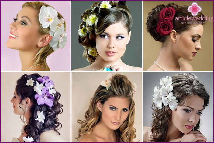 Flowers in your hair from the bride look elegant