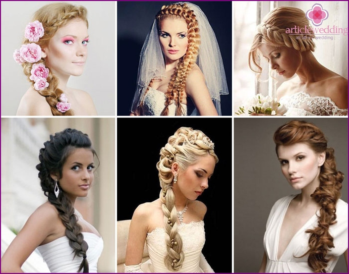Wedding French braid hairstyle