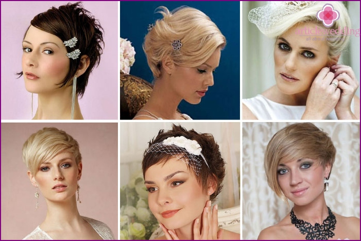 Wedding hairstyle short hair with fleece