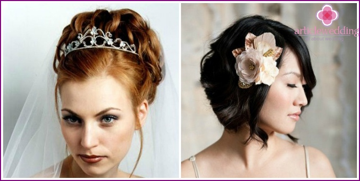 Bridal hairstyles with tiara and flowers