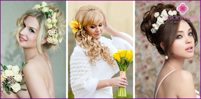 Свадебная прическа короткая с живыми цветами