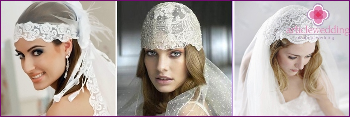 Unusual wedding headpiece cap Juliet