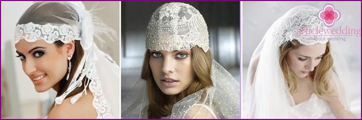 Unusual wedding headpiece cap Juliet