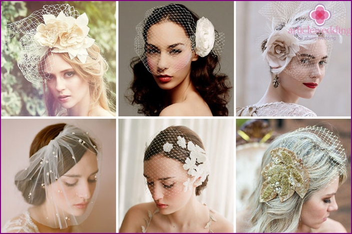 Options veils for brides with a flower