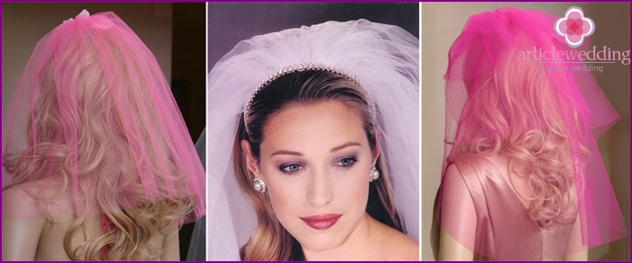 Pink veil at the wedding