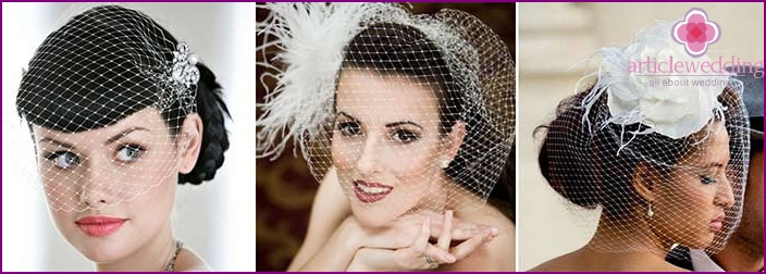 French mesh on the bride's head