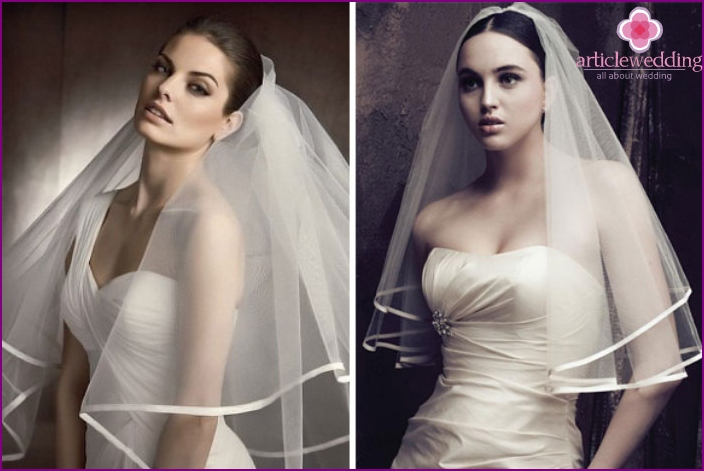 The veil with satin ribbon sewn bride