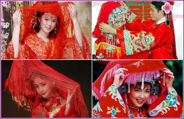 Red bride attribute on Chinese wedding