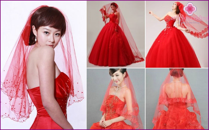 The red head-dress of the bride dress with princess