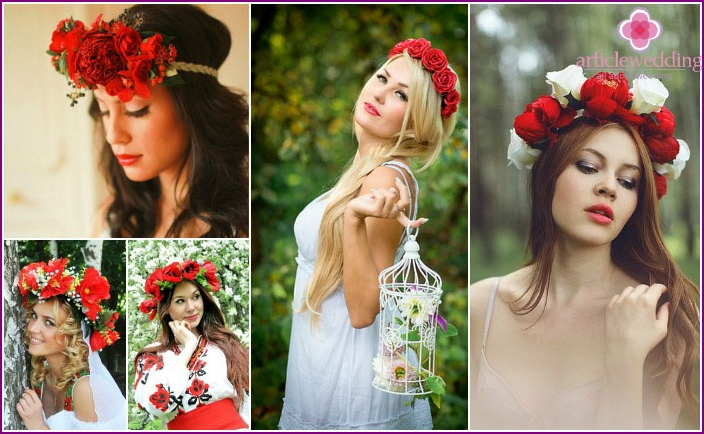 Wreath: red accessory for wedding headdress