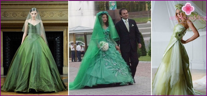 Wedding dress with green decor