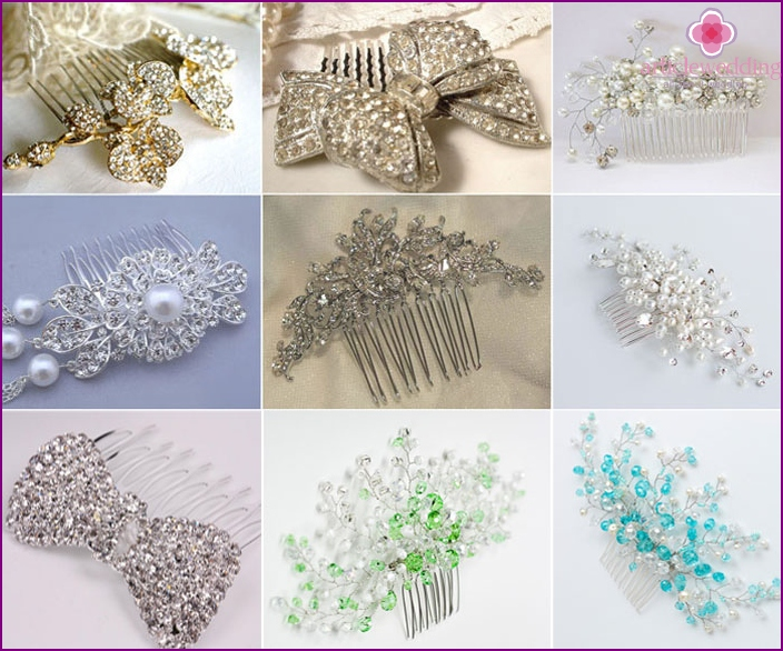 Combs for bride's veil with rhinestones