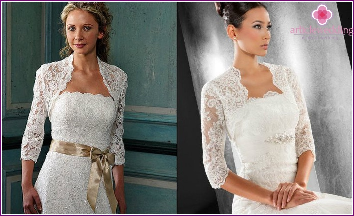 Wedding bolero with tight long-sleeved lace