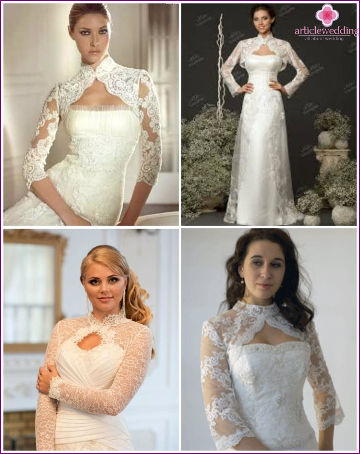 Wedding models shortened Bolero with small stands