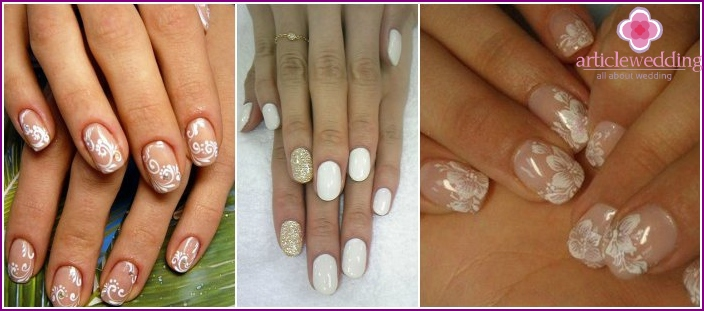 Wedding manicure on short nails
