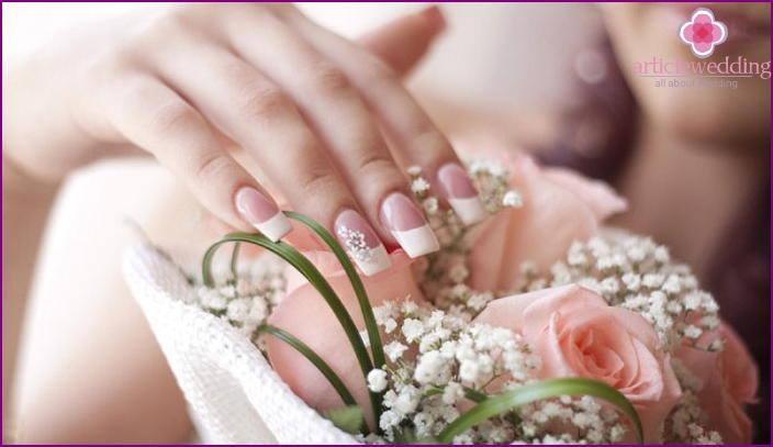 Beautiful wedding nail design at home