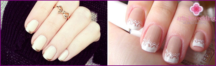 French manicure for a wedding at home