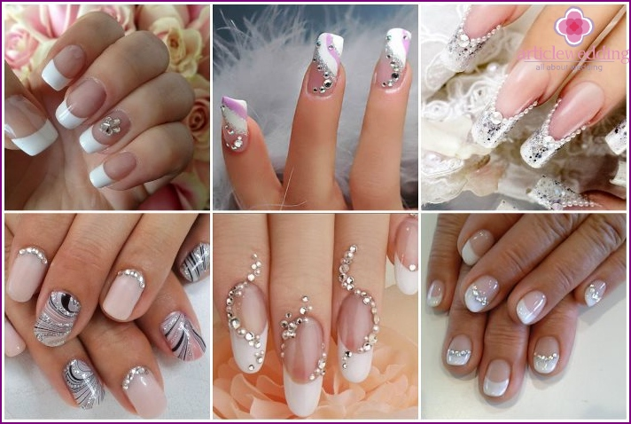 Wedding French manicure with rhinestones