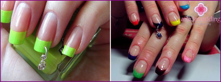 Piercing for wedding manicure-French