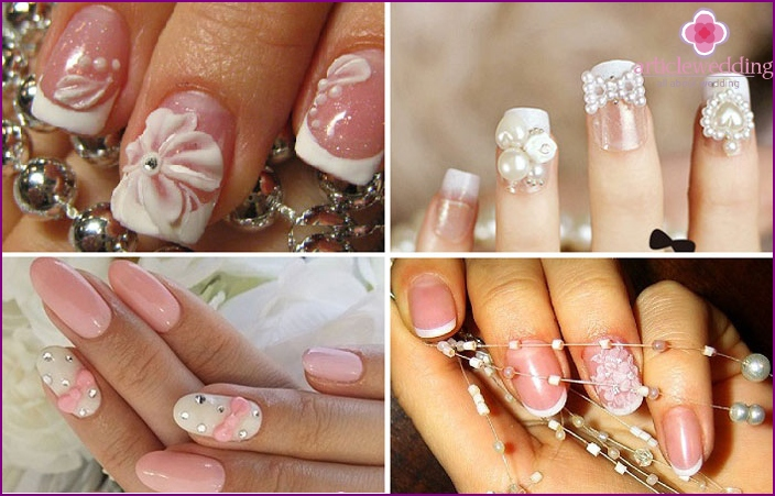 Types of wedding design of short nails