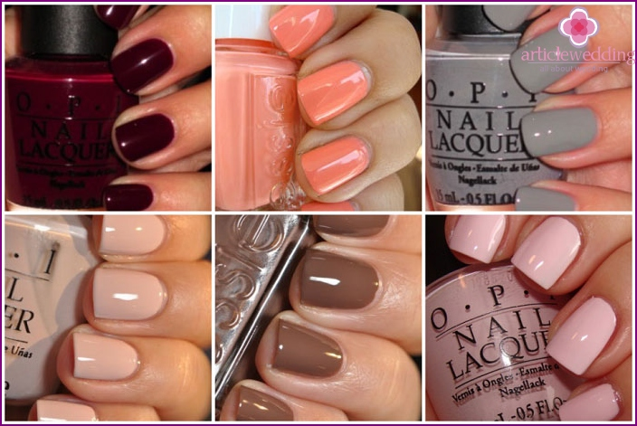 Manicure for the bride's nails short 2016 season