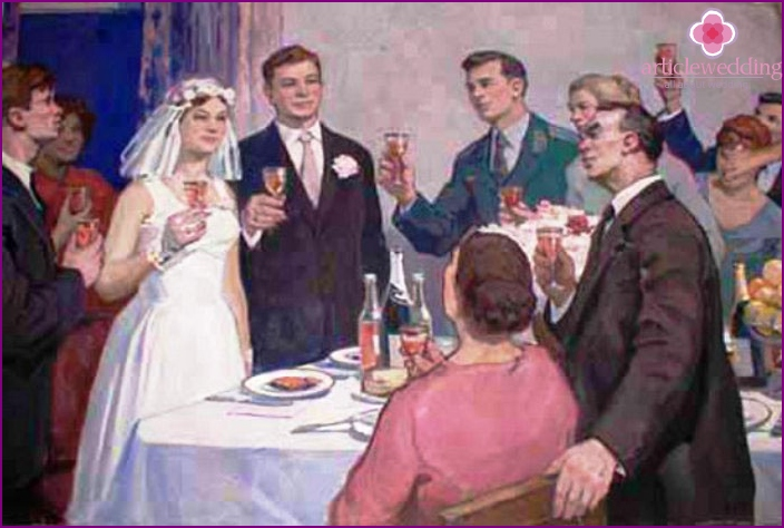 Toasts at the wedding at the table