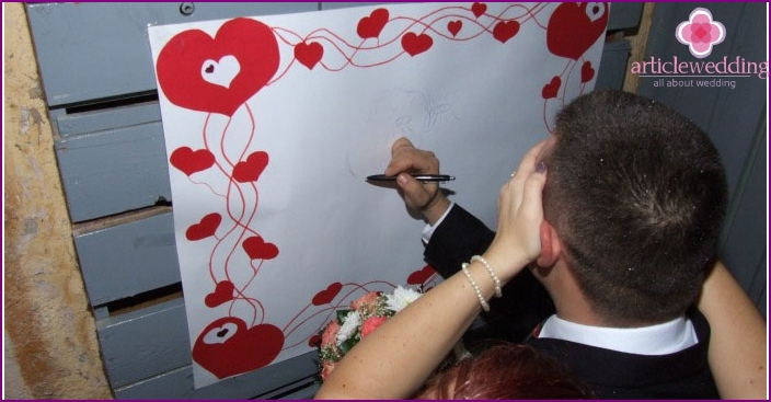Betrothed bride draws with his eyes closed