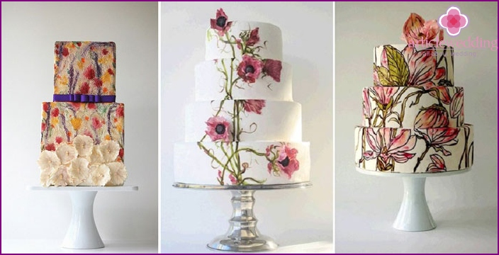Wedding cake with painted flower arrangements