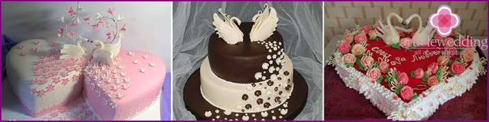 Swans white chocolate wedding cake