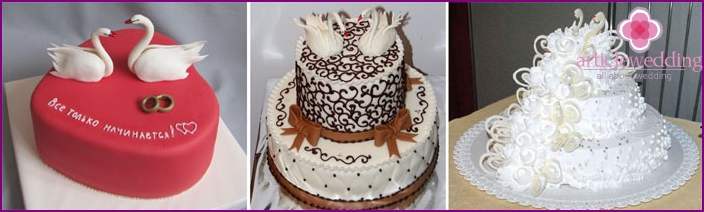 Cakes with swans as a symbol of fidelity