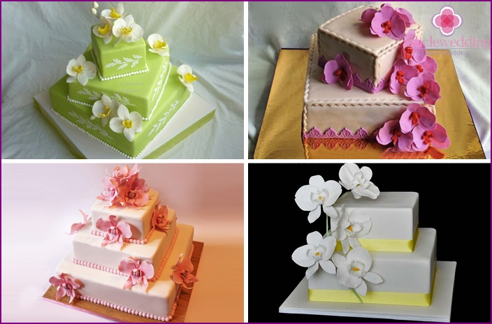 Tiered square cake with orchids
