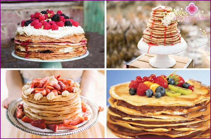 Dish of pancakes for a wedding